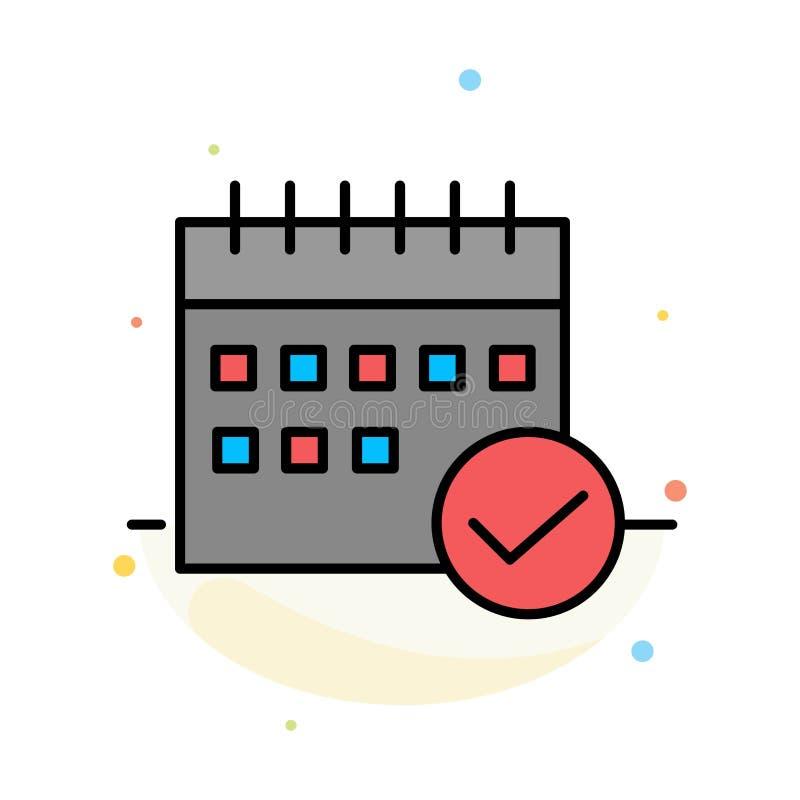 Horario, aprobado, negocio, calendario, acontecimiento, plan, plantilla plana del icono del color del extracto del planeamiento libre illustration