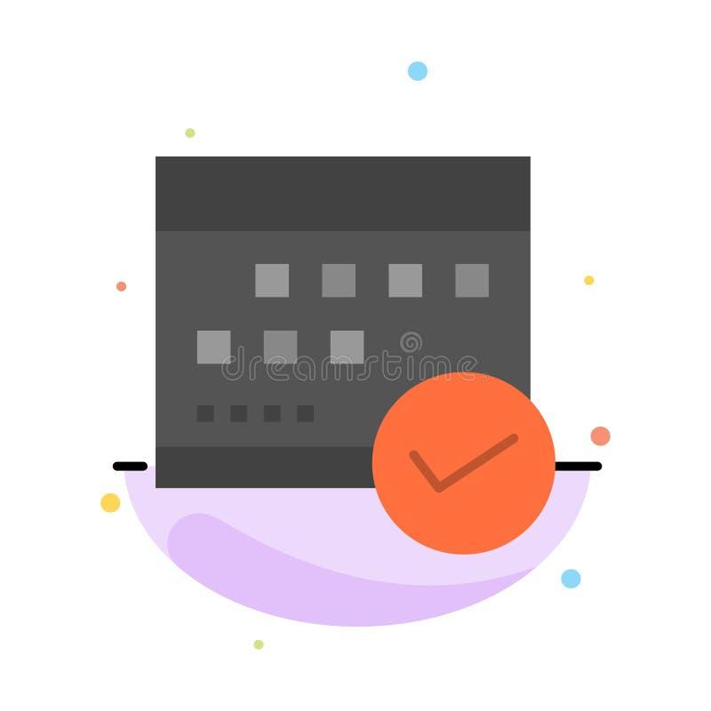 Horario, aprobado, negocio, calendario, acontecimiento, plan, plantilla plana del icono del color del extracto del planeamiento ilustración del vector
