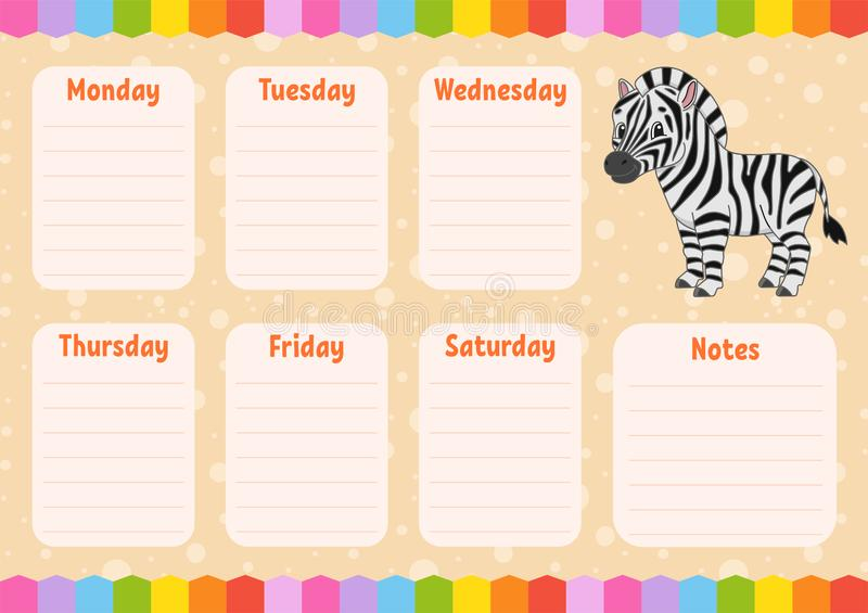 Horario de la escuela Calendario para los niños Plantilla vac?a Alisadora semanal con las notas Ejemplo aislado del vector del co stock de ilustración
