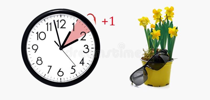 Horario de verano Cambie el reloj al tiempo de verano imagenes de archivo