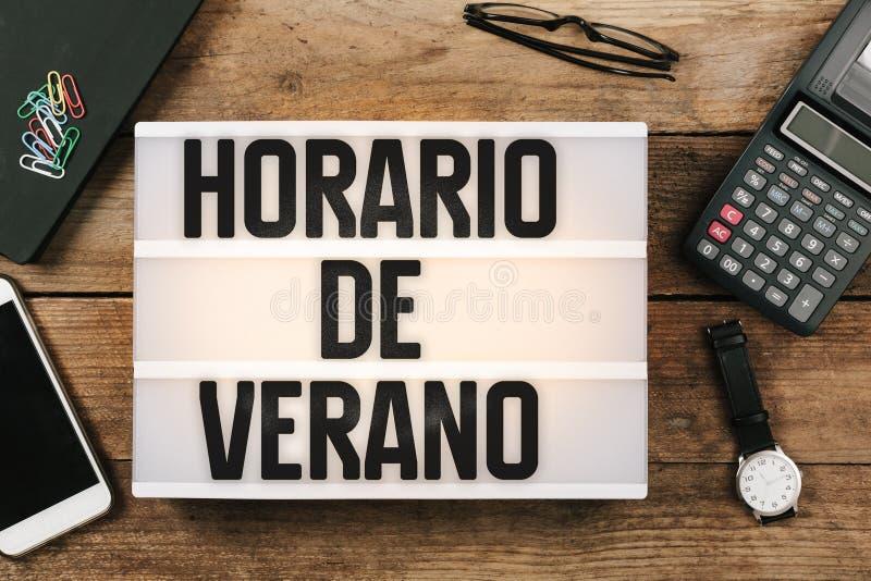 Horario de Verano, Spanish Horario de Verao, luce del giorno portoghese fotografia stock