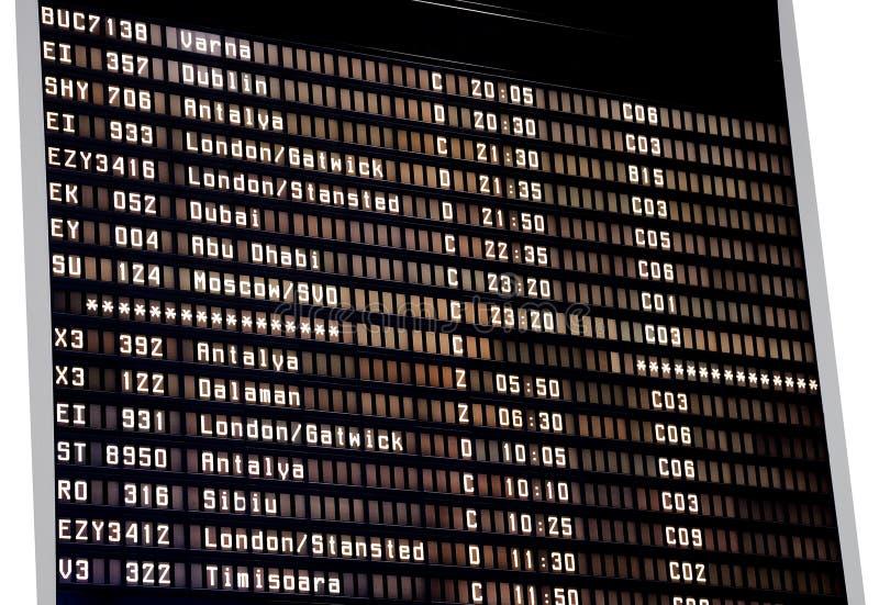 Horario del aeropuerto fotografía de archivo
