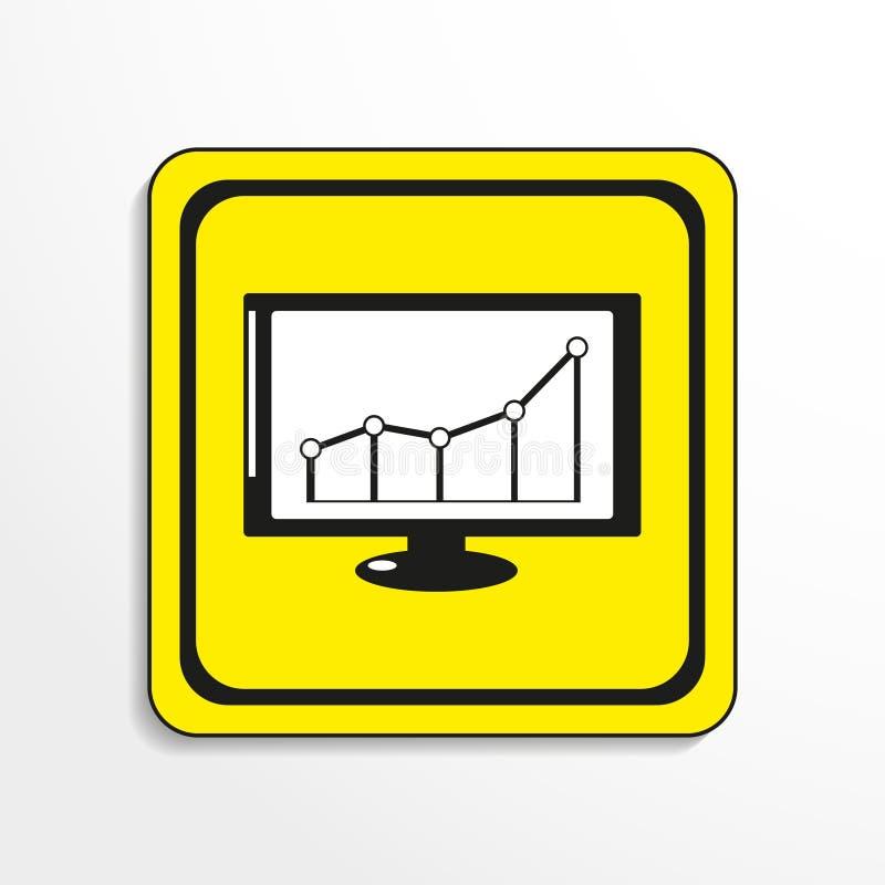 Horario del beneficio financiero Engrana el icono Objeto blanco y negro en un fondo amarillo ilustración del vector