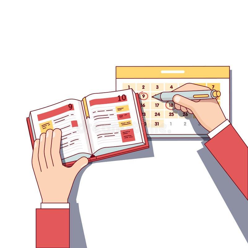 Horario del día del planeamiento del hombre de negocios en libro del diario libre illustration