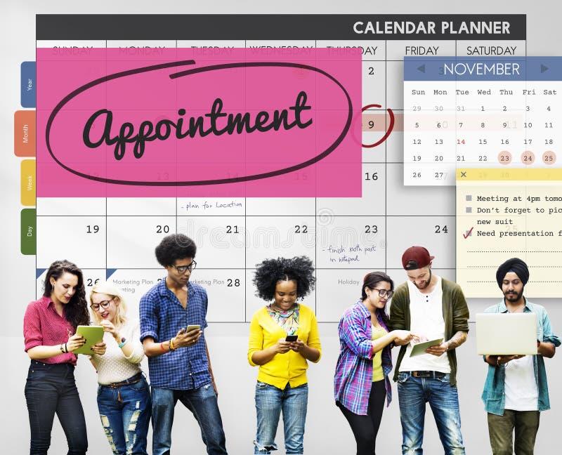 Horario del planificador de la cita que planea hacer concepto de la lista fotos de archivo