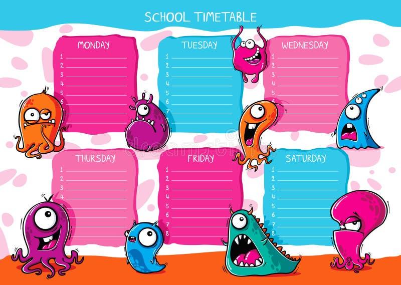 Horario escolar monstruos graciosos con diferentes emociones ilustración del vector