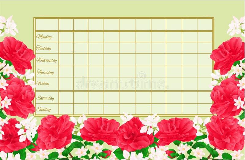 Horario semanal del calendario con el ejemplo del vector del vintage de Camellia Japonica editable ilustración del vector