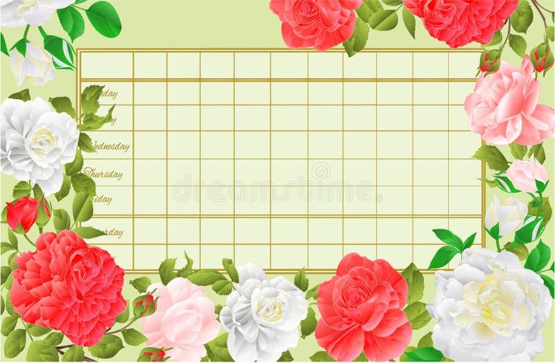 Horario semanal del calendario con el ejemplo del vector del vintage de las rosas rosadas y blancas editable stock de ilustración