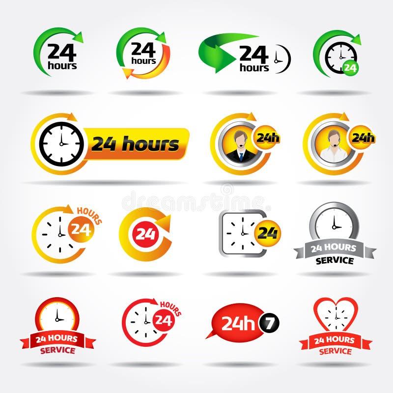 24 horas Ícones coloridos do vetor ajustados: 24/7, crachá, etiqueta ou etiqueta para o serviço ao cliente, o apoio, o centro de  ilustração royalty free