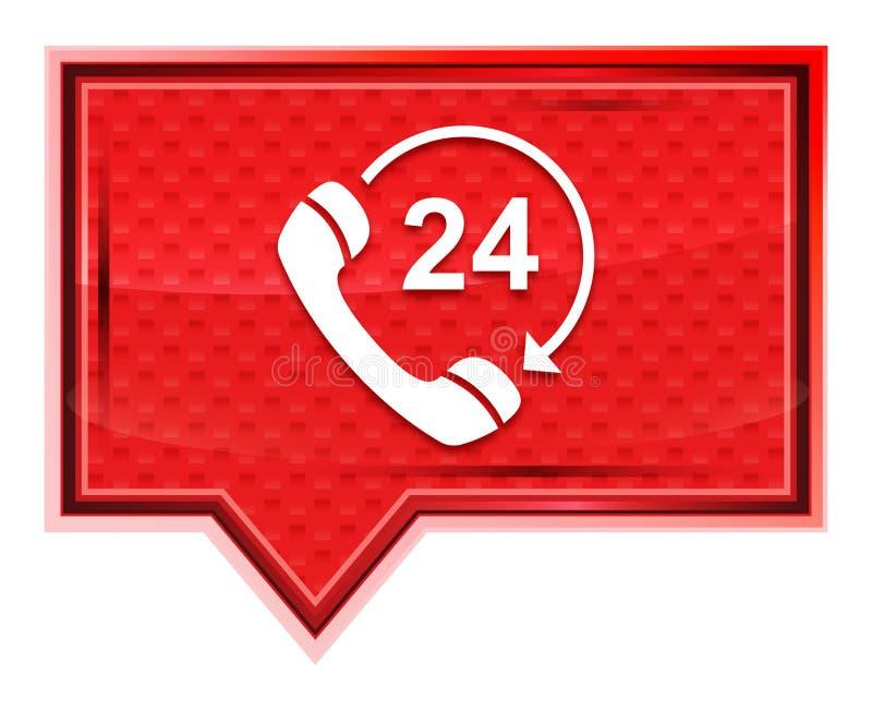 24 horas abrem o telefone gerenciem o ícone da seta enevoado aumentaram botão cor-de-rosa da bandeira ilustração do vetor