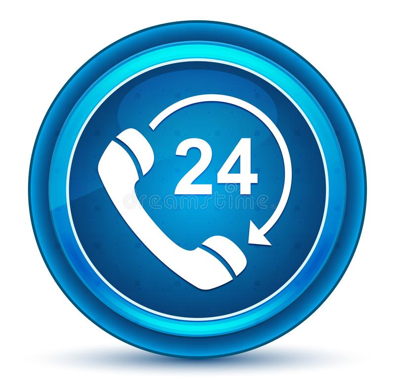 24 horas abrem o telefone gerenciem o botão redondo azul do globo ocular do ícone da seta ilustração royalty free