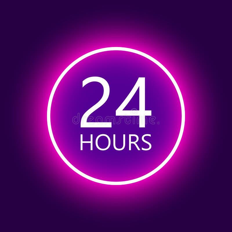 24 horas abren la muestra, ejemplo de neón púrpura del vector de la cartelera stock de ilustración