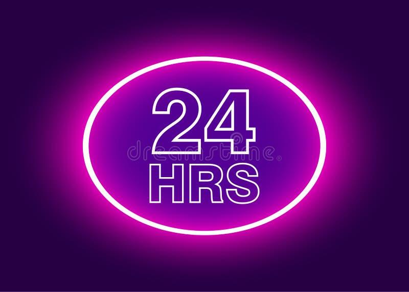 24 horas abren la muestra, ejemplo de neón púrpura del vector de la cartelera ilustración del vector
