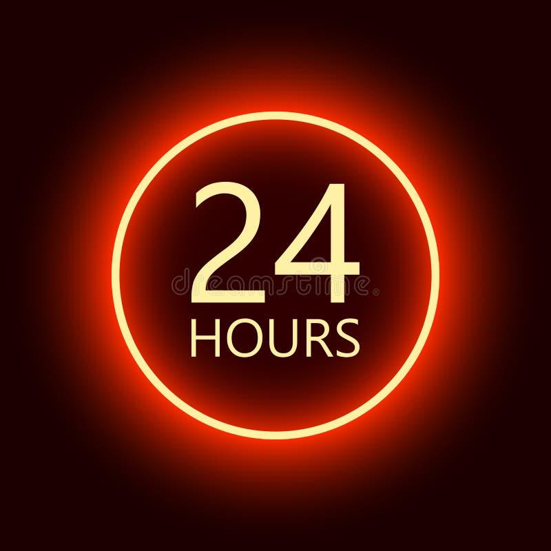 24 horas abren la muestra, ejemplo de neón rojo del vector de la cartelera libre illustration