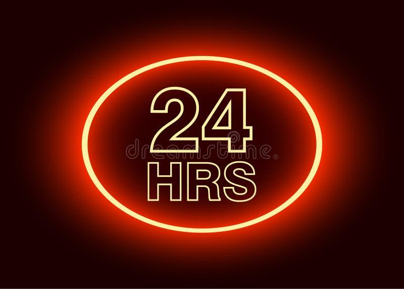 24 horas abren la muestra, ejemplo de neón rojo del vector de la cartelera stock de ilustración
