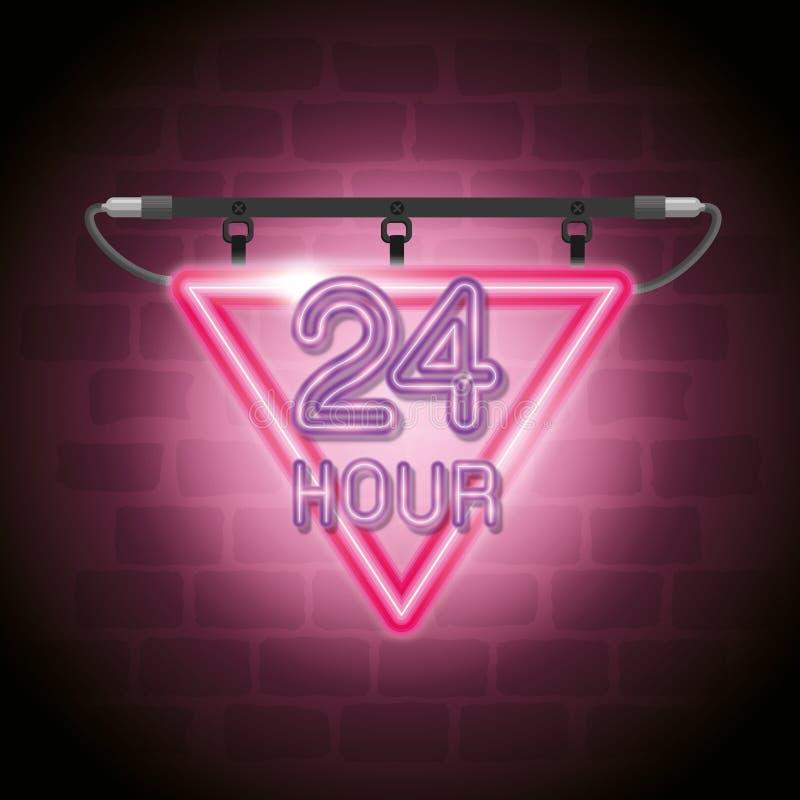 24 horas de ícone de néon da etiqueta ilustração do vetor
