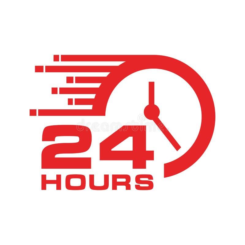 24 horas de ícone, ilustração stock