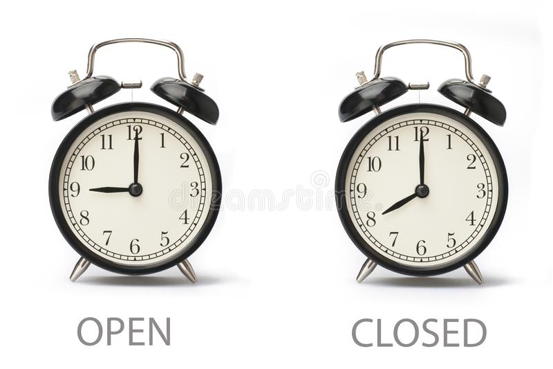 Horas de abertura do neg?cio de exibi??o do sinal isoladas no fundo branco ilustração stock