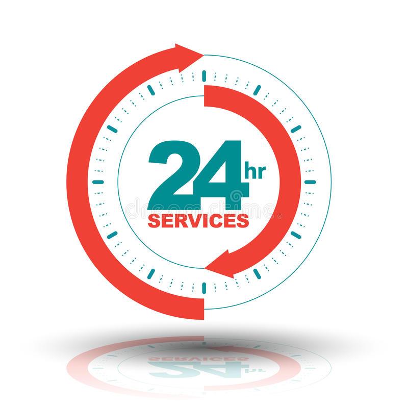 24 horas de bandera de los servicios ilustración del vector