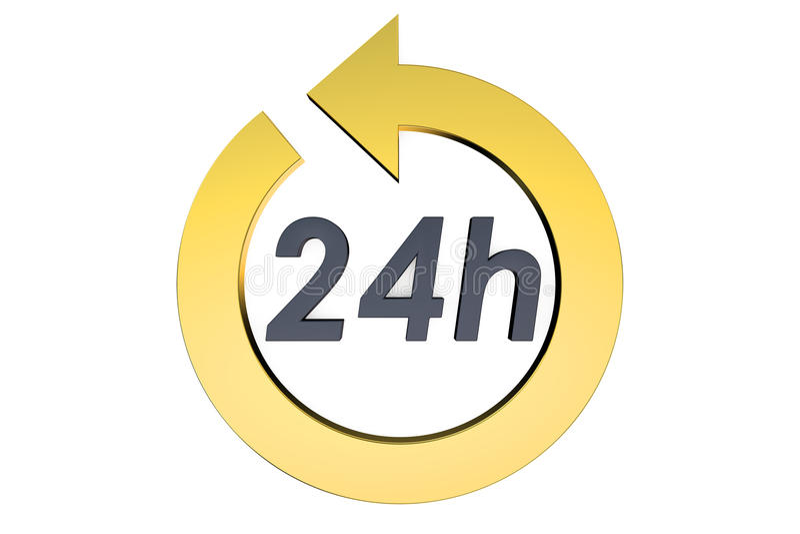 24 horas de concepto stock de ilustración