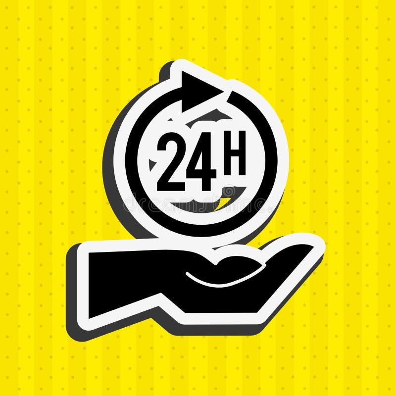 24 horas de diseño del servicio ilustración del vector