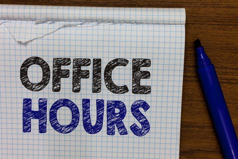 Horas de escritório do texto da escrita da palavra Conceito do negócio para as horas que o negócio é normalmente marcador conduzi foto de stock