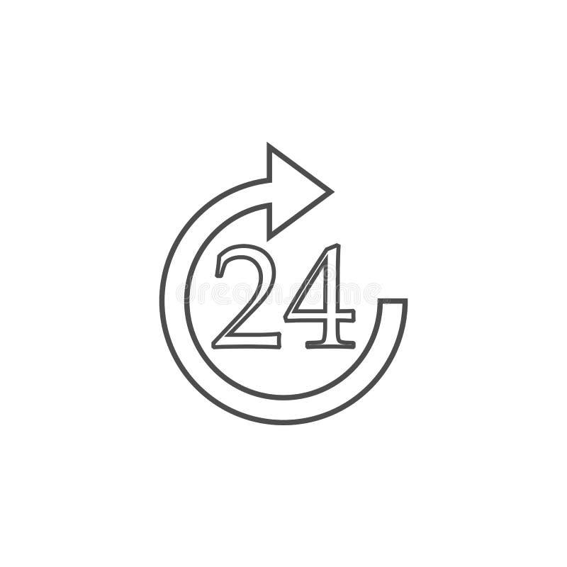 24 horas de icono del servicio Elemento para los apps móviles del concepto y del web Línea fina icono para el diseño y el desarro libre illustration