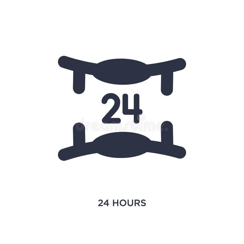 24 horas de icono en el fondo blanco Ejemplo simple del elemento del concepto del servicio de atención al cliente ilustración del vector