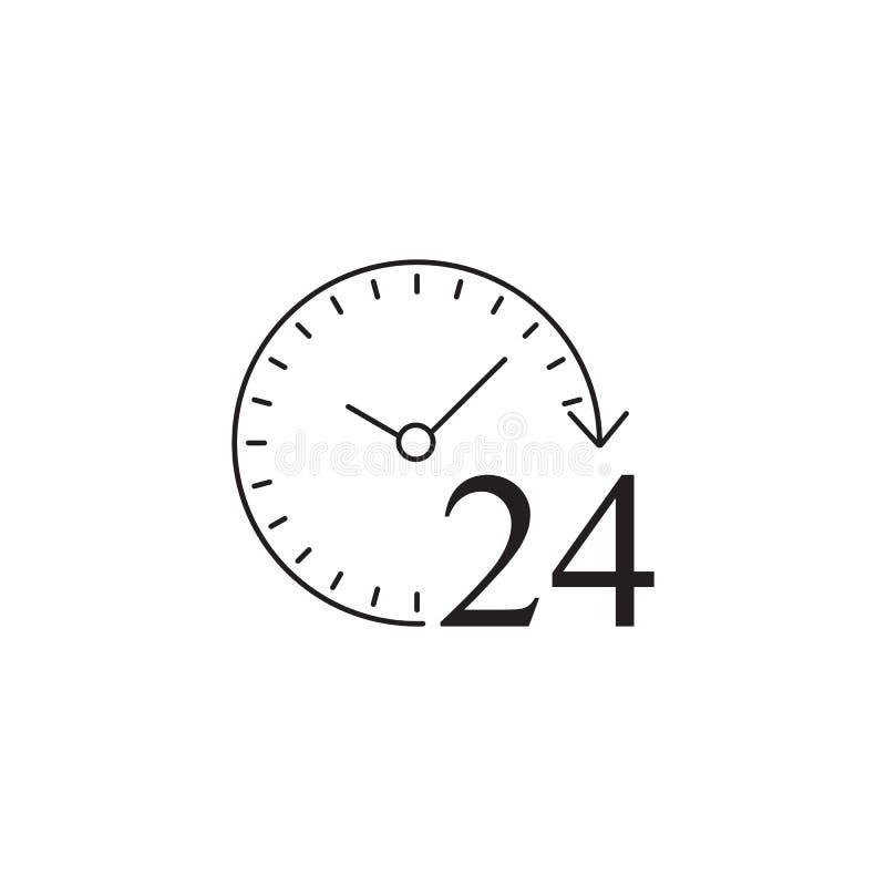 24 horas de icono sólido, servicio de atención al cliente, ayuda ilustración del vector