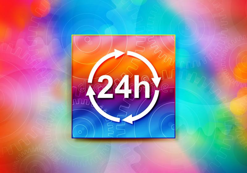 24 horas de ilustração colorida do projeto do bokeh do fundo do sumário do ícone da atualização ilustração stock
