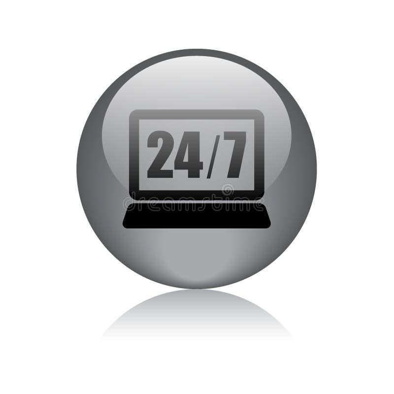 24 horas de la ayuda de botón del icono stock de ilustración