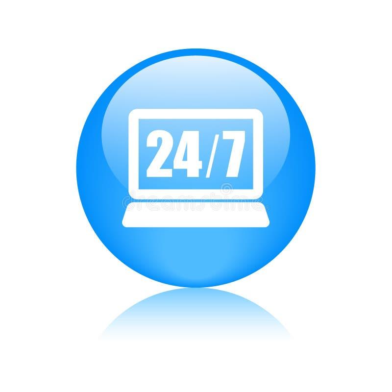 24 horas de la ayuda de botón del icono libre illustration