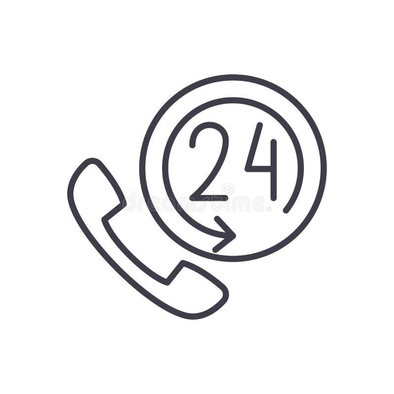 24 horas de la ayuda del negro de concepto del icono 24 horas apoyan el símbolo plano del vector, muestra, ejemplo ilustración del vector