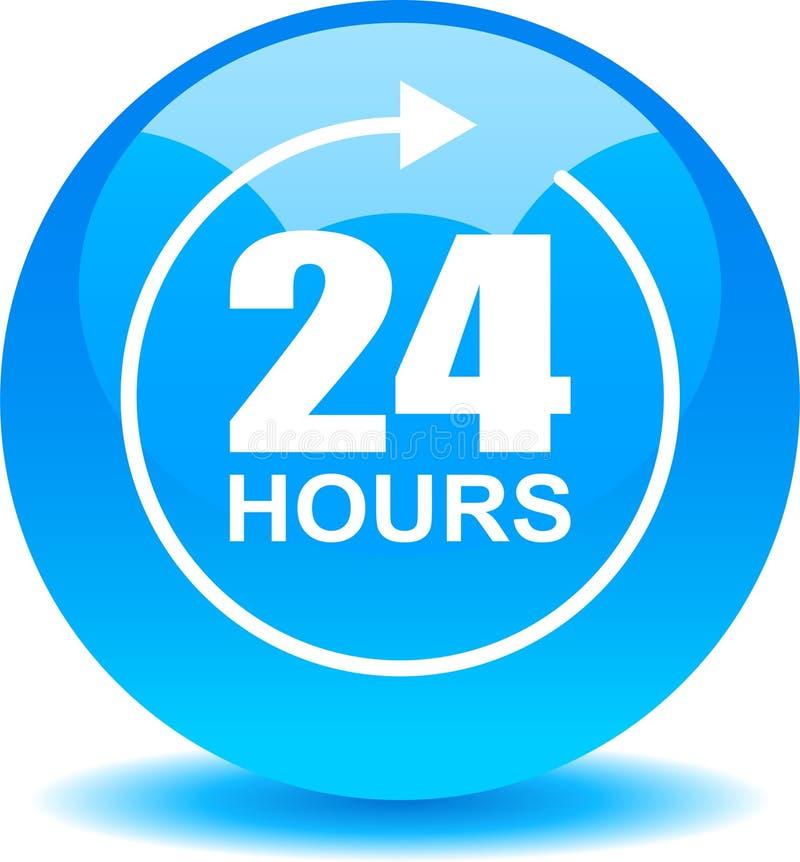 24 horas de la ayuda del web de azul del botón libre illustration