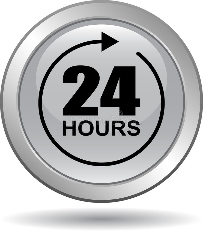 24 horas de la ayuda del web de gris del botón ilustración del vector