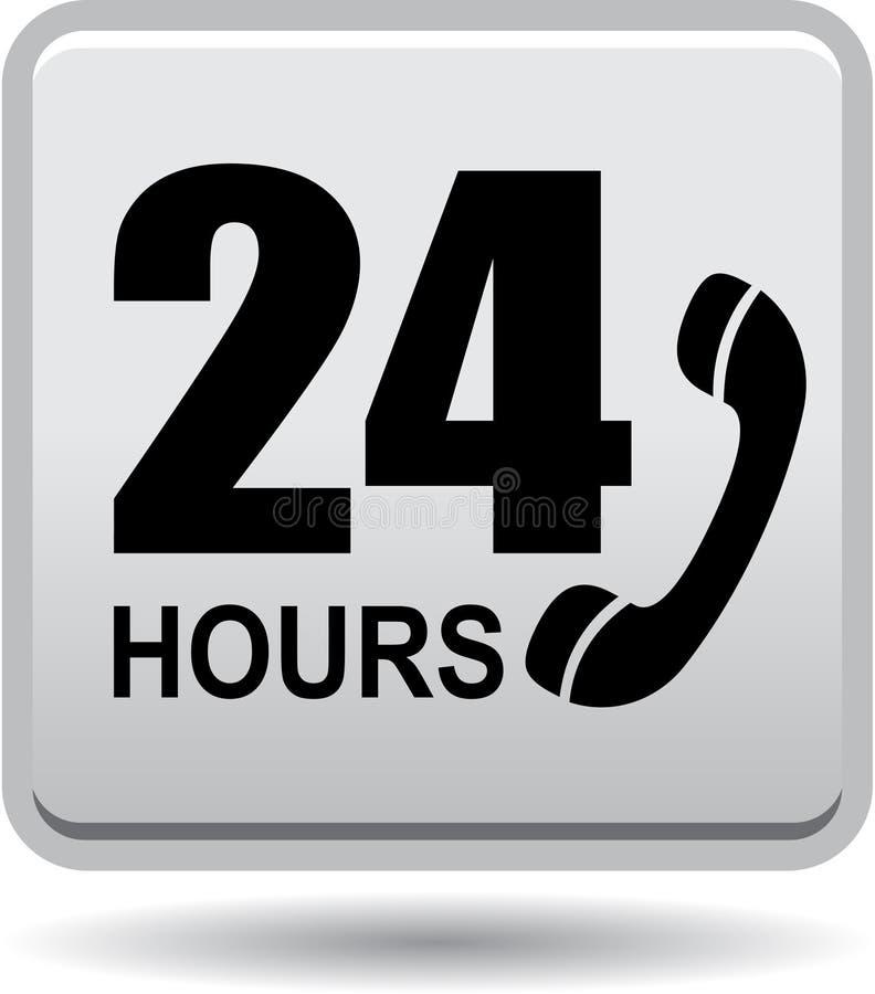 24 horas de la ayuda del web de gris del botón stock de ilustración