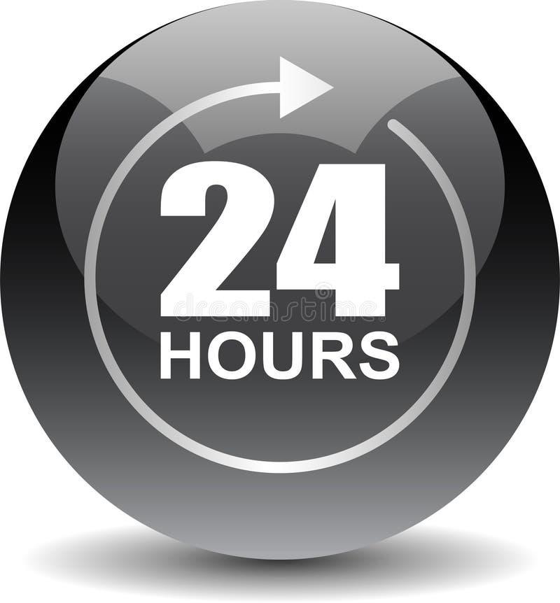 24 horas de la ayuda del web de negro del botón ilustración del vector