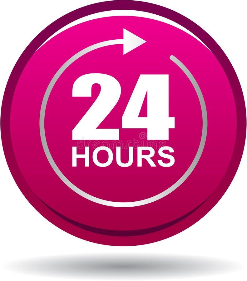 24 horas de la ayuda del web de rosa de botón stock de ilustración