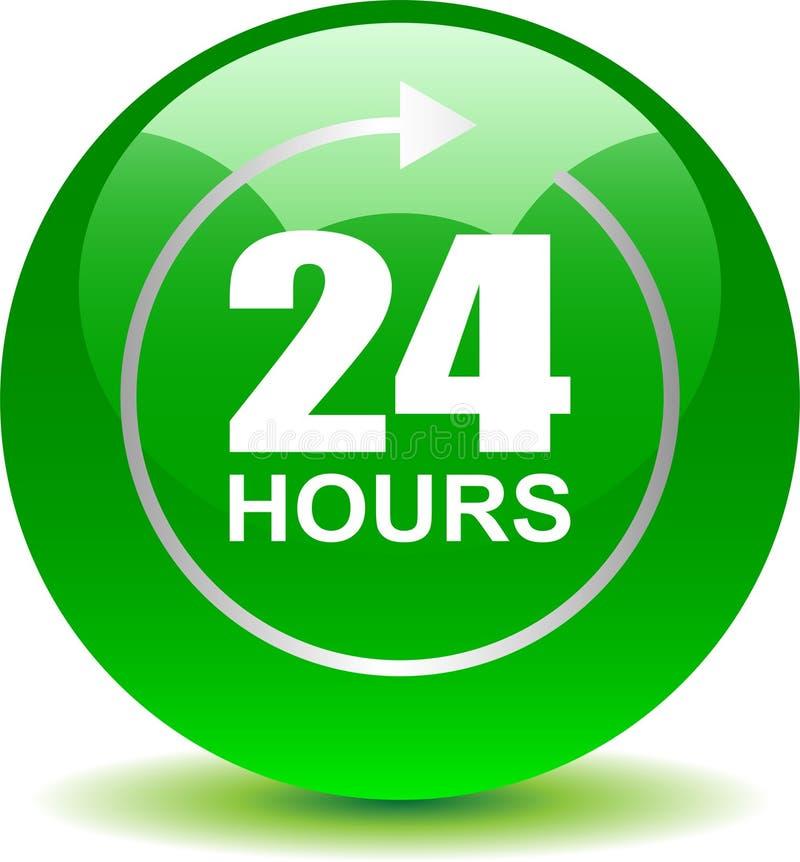 24 horas de la ayuda del web de verde del botón ilustración del vector