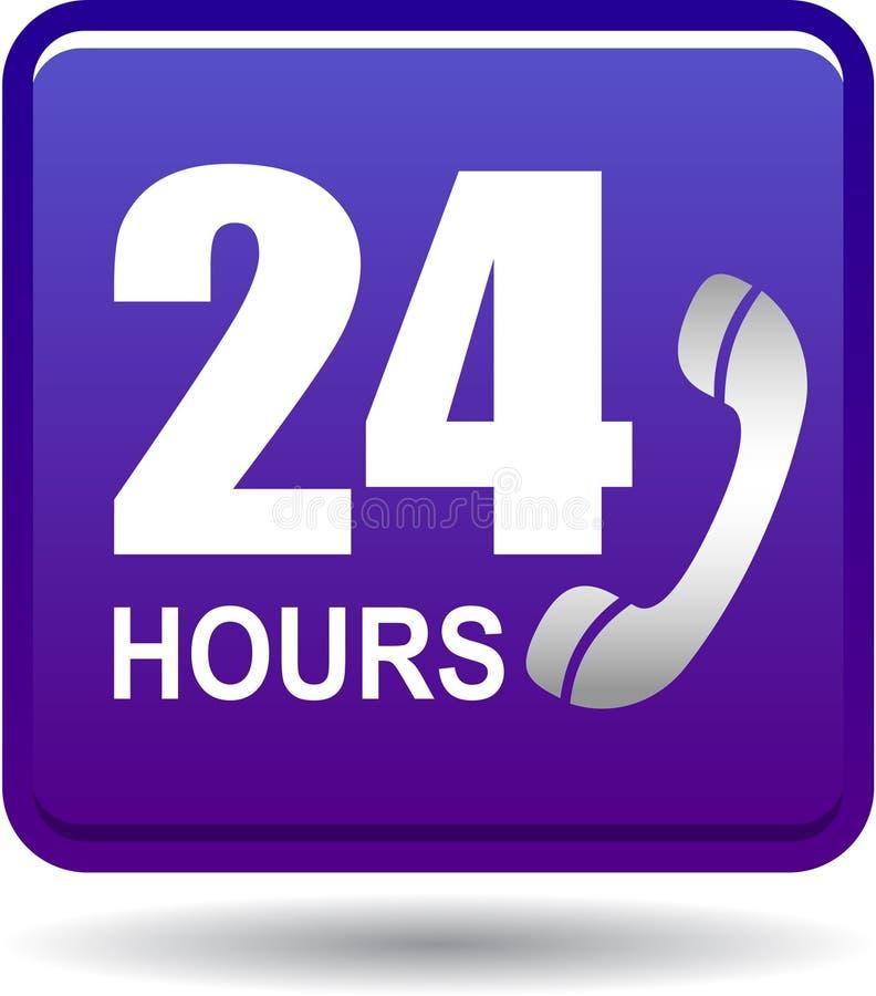 24 horas de la ayuda del web de violeta del botón stock de ilustración
