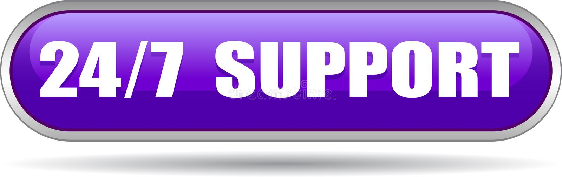 24 horas de la ayuda del web de violeta del botón ilustración del vector