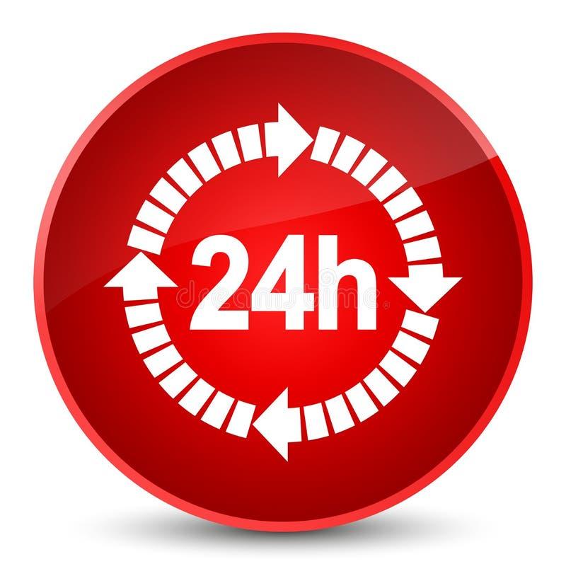 24 horas de la entrega de botón redondo rojo elegante del icono stock de ilustración