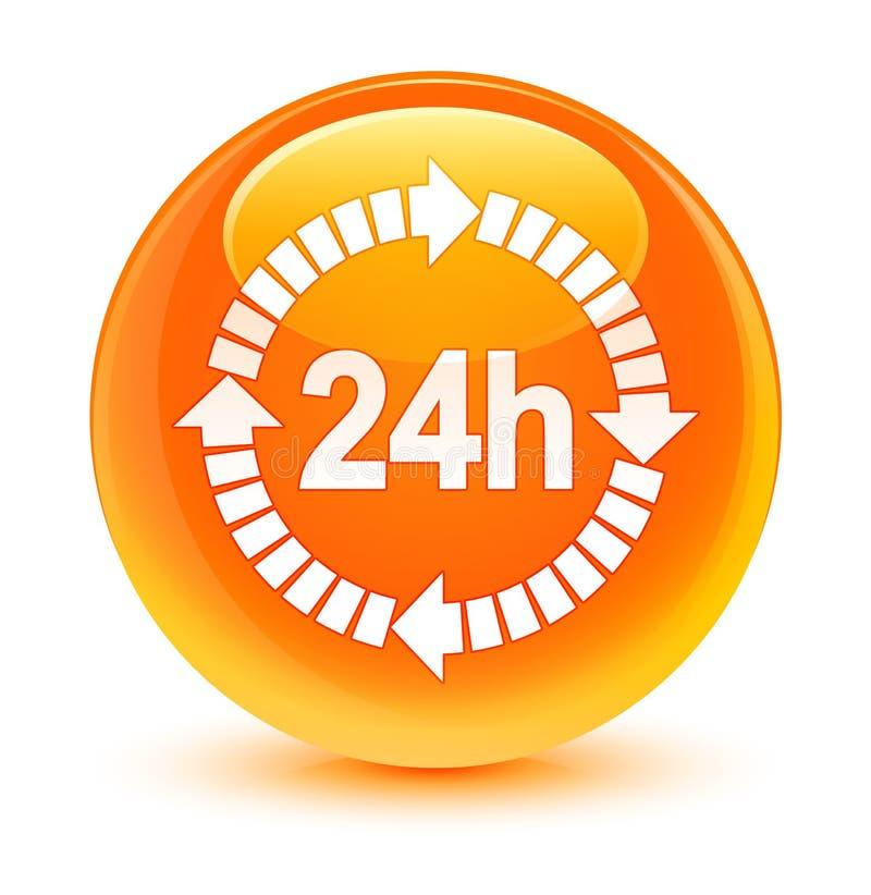 24 horas de la entrega de botón redondo anaranjado vidrioso del icono ilustración del vector