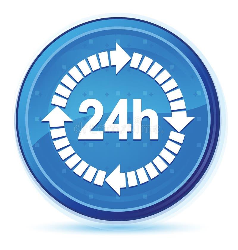 24 horas de la entrega del icono de botón redondo primero azul de la medianoche ilustración del vector