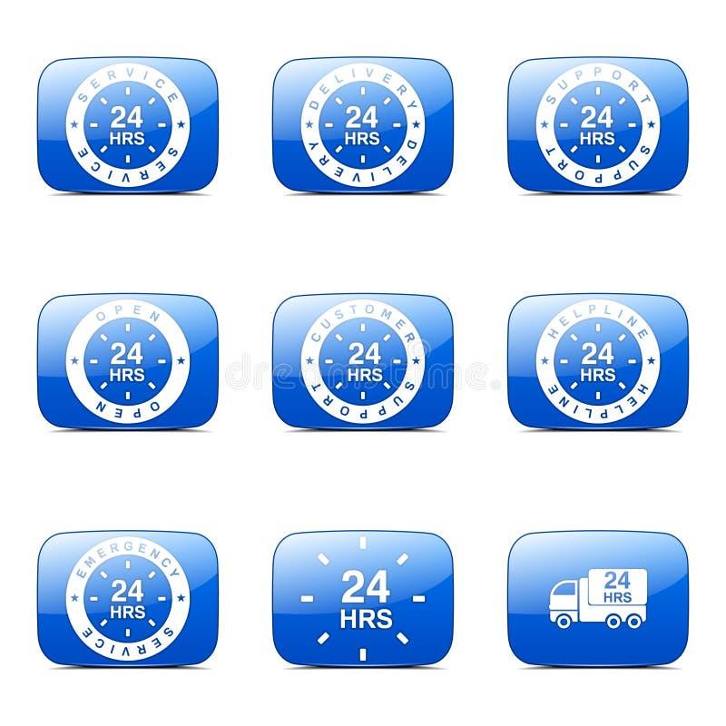 24 horas de los servicios del vector de icono cuadrado del azul ilustración del vector