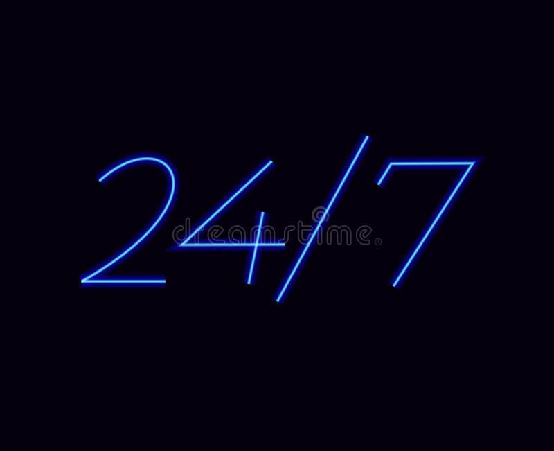 24 7 horas de luz de néon no fundo escuro 24 do clube noturno horas de sinal de néon da barra ilustração do vetor
