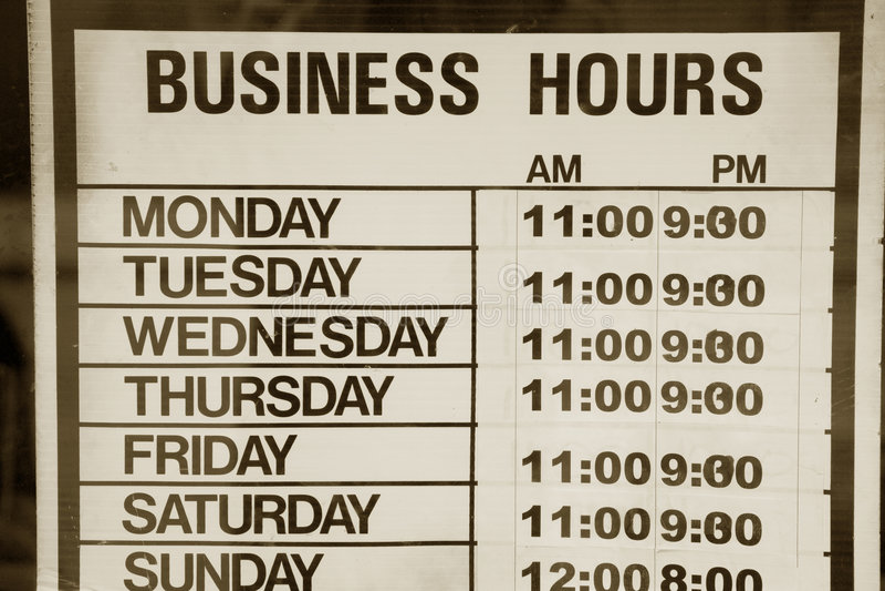 Horas de oficina imagenes de archivo