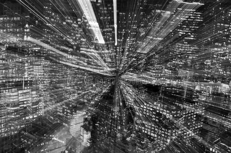 Horas de ponta de Manhattan; arranha-céus preto e branco imagens de stock