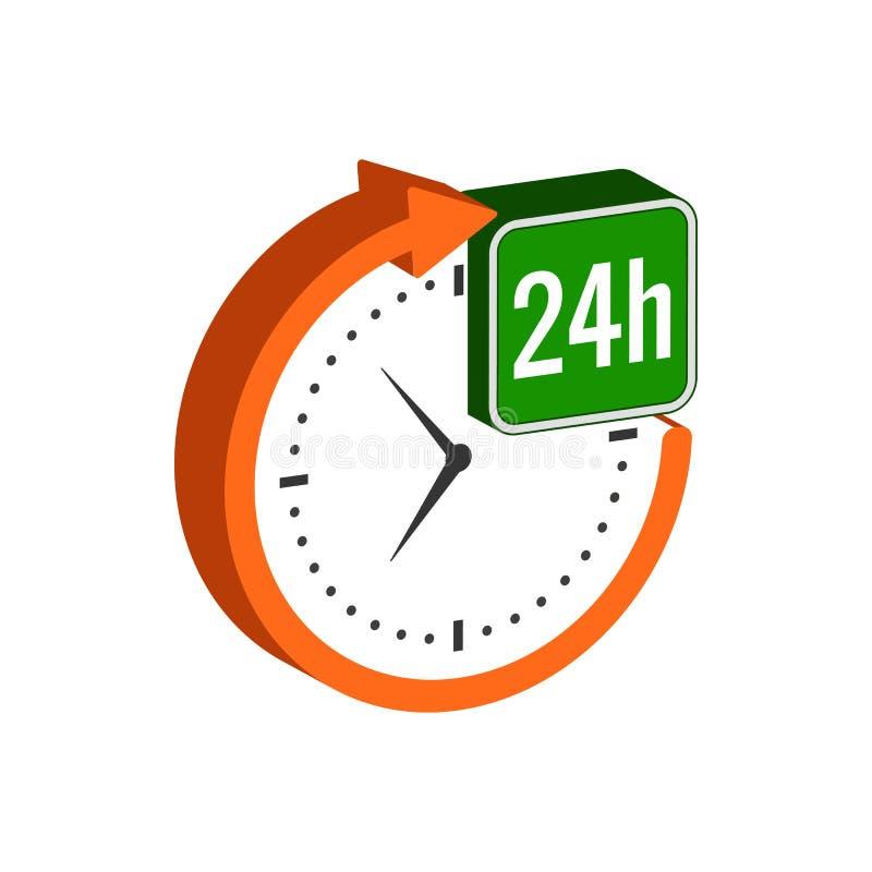 24 horas de símbolo del servicio Icono o logotipo isométrico plano ilustración del vector