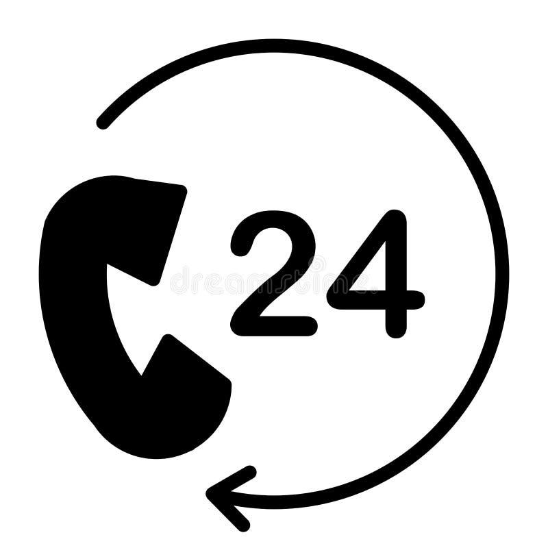 24 horas de servicio de la ayuda del pixel de icono perfecto 48x48 del vector Pictograma mínimo simple stock de ilustración